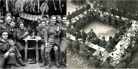 Christmas dinner 1943: Just a few blocks from the brutal fighting in Ortona, Canadian soldiers enjoy a brief respite of seasonal good cheer.
