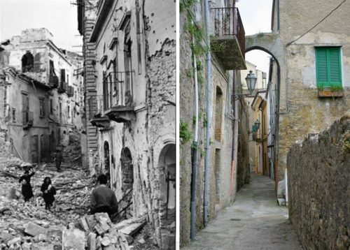 Ortona then and now: Evidence of the battle can still be seen 75 years later.