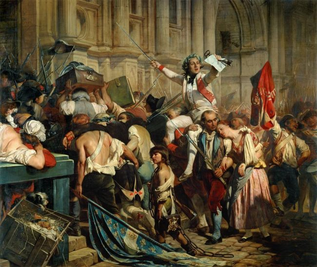 Picture is painting of fighting and chaos during the French Revolution.