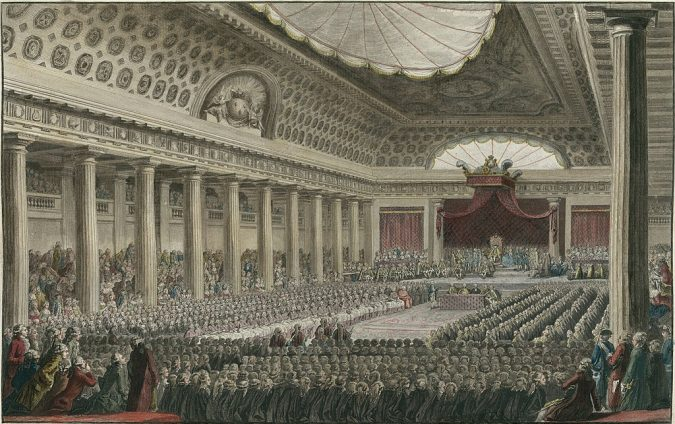 Portrait of the Estates-General is shown, King Louis XVI's calling of the Estates-General set off a chain of events that resulted in the storming of the Bastille and laid the French Revolutions foundations.