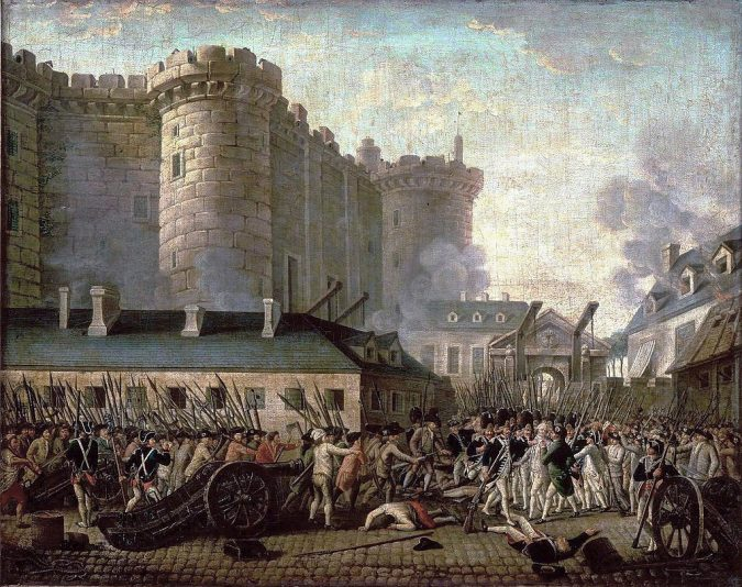 A portrait of the storming of Bastille is shown, a key moment in the French Revolution.