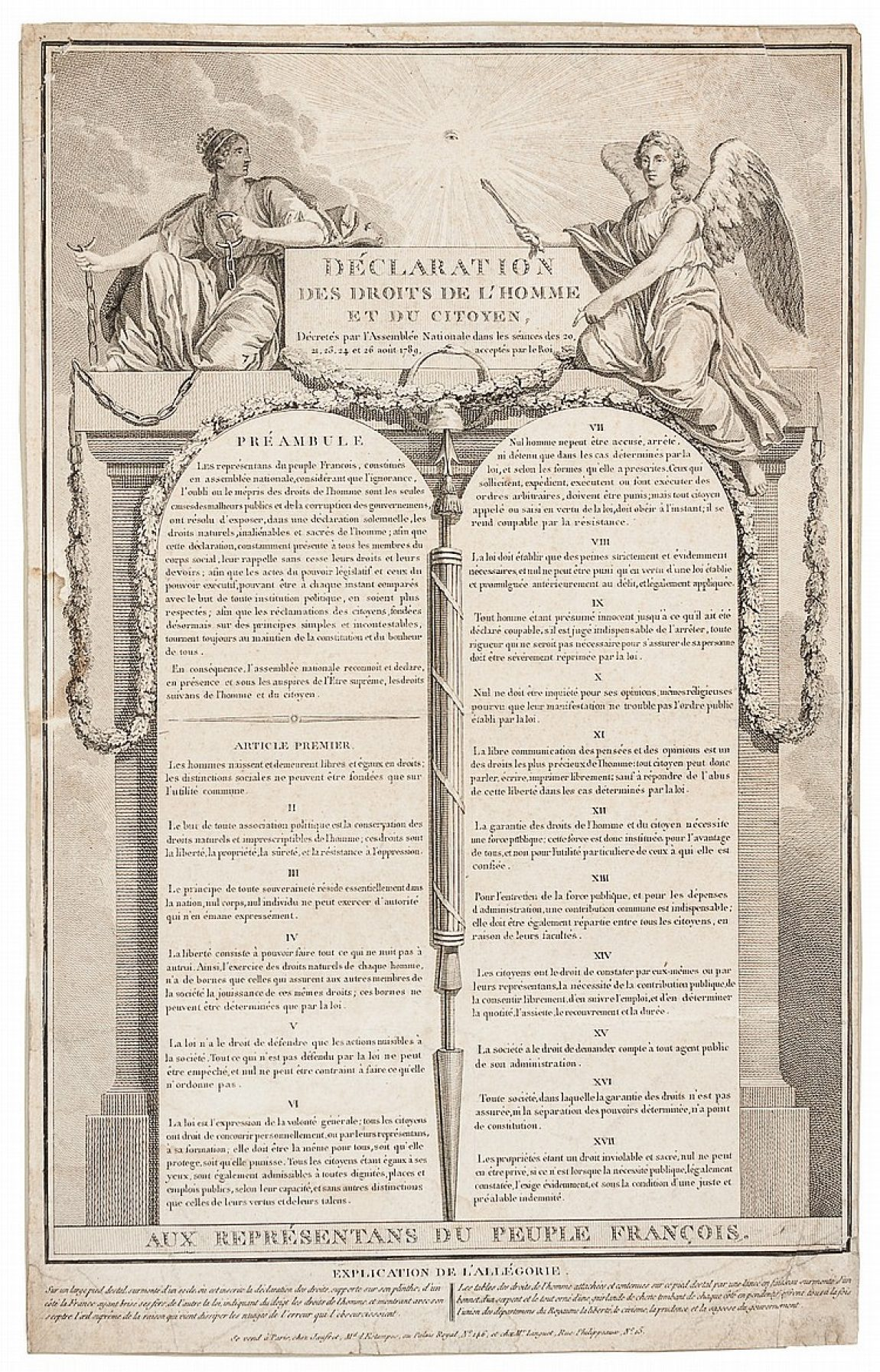 Picture of the Declaration of the Rights of Man. A key result of the French revolution.