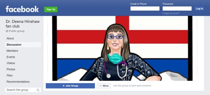 Facebook fan page for Dr. Deena Hinshaw