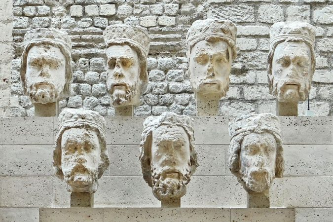 Pictured are the heads of former statues at Notre Dame which were vandalized by mobs during the Fernch Revolution.