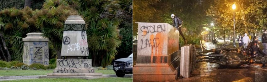 Two pictures of modern day vandalism to statues are displayed. Showcasing acts similar to those committed by mobs in the French revolution.
