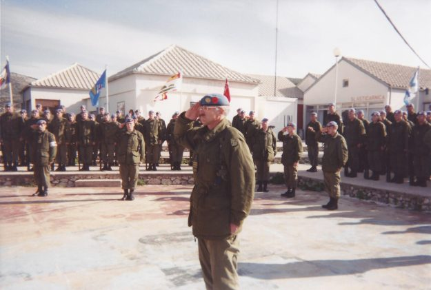 Lieutenant-Colonel David Redman during the Change of Command ceremony in Lahr, Germany in 1992 (above) and on Remembrance Day, 1995 in the former Republic of Yugoslavia (below).