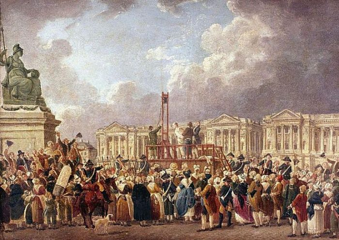 The portrait is of the guillotine used during the French Revolutions Reign of Terror.