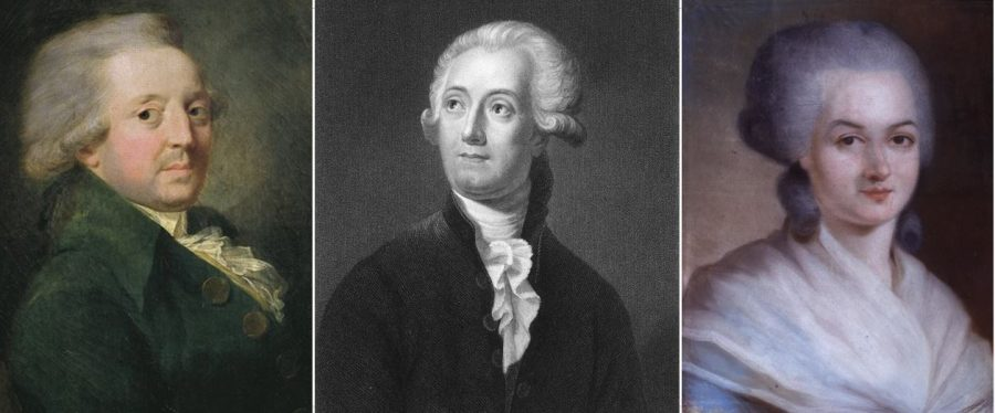 Three headshot portraits of France's brightest intellectuals who fell victim to the French Revolution's Reign of Terror are displayed (left to right) political theorist Nicolas de Condorcet, chemist Antoine Lavoisier and pioneering feminist Olympe de Gouges).