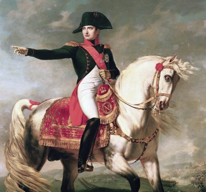 Portrait of Napoleon Bonaparte on a horse is displayed. A leader who undid many of the French Revolution's achievements.