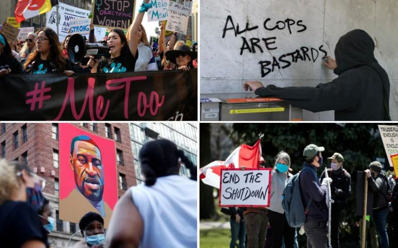 Four pictures show various events and acts of protest in the wake of the death of George Floyd in Minneapolis, Minnesota.