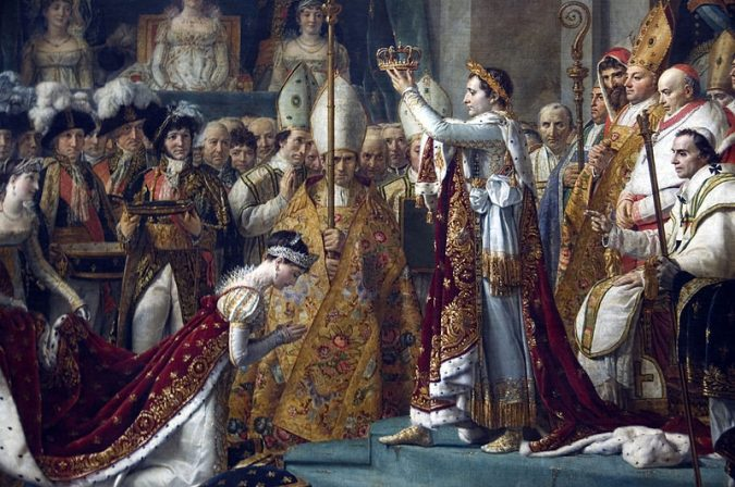Portrait of Napoleon Bonaparte as Emperor of France, a position that symbolized a key regression in the eyes of the French revolution.