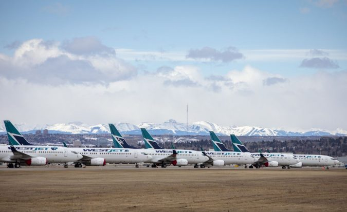 Row of planes stranded as air travel was reduced to a standstill amid the pandemic induced lockdown.