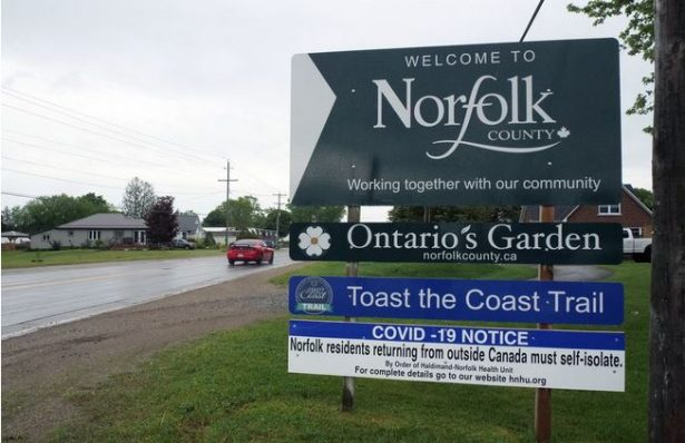 Welcome sign for the Ontario town of Norfolk did not welcome cottage owners as public health authorities restricted movement in the town. Another example of government overreach in the lockdown