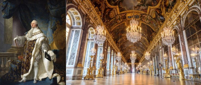 Two pictures are displayed, one a painting of King Louis XVI and a picture of his palace. The luxury displayed proved a key accelerant in the French Revolution.