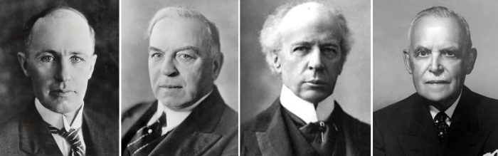An exclusive Canadian Club: The only Prime Ministers who cut government spending during economic downturns: (l-r) Arthur Meighen, William Lyon Mackenzie King, Wilfred Laurier and Louis St. Laurent. Meighen was crushed, however.