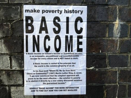 Flyer explaining reasons why one should support a universal basic income. A policy being promoted in the lockdown as many people cannot work from home
