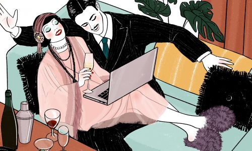 Cartoon of couples exhibiting the style of the roaring 20s