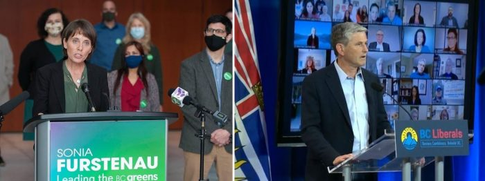 NDP Premier Horgan rolled the dice on a pandemic election campaign, facing novice Green leader Furstenau (below Left) and uncharismatic Liberal leader Wilkinson (below right).