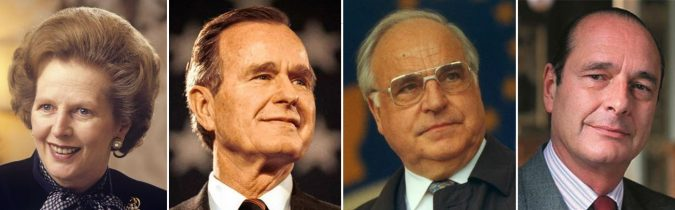 Founding International Democrat Union members (l to r): Margaret Thatcher, George H.W. Bush, Helmut Kohl and Jacques Chirac.