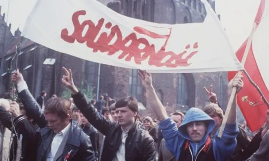 The totalitarian threat is perennial, but the fight is worthwhile: NATO's rearmament in the early 80s despite intense protests (pictured above) and Poland's grassroots Solidarity movement (below) helped bring about the fall of Soviet Communism.
